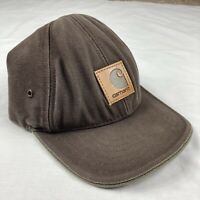 Vtg Carhartt Leather Logo Hat Cap Leather Strap Vintage Faded Worn Made In USA