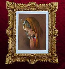 Maria Heilige Maria Mutter Gottes Gemälde Heiligenbild mit Antik Rahmen 45x38 cm
