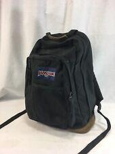 VTG Jansport Backpack School Book Bag Black Medium Leather Suede Bottom Trim USA