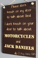 No Soliciting God Motorcycles and Jack Daniels Sign - Harley Davidson Biker Bar
