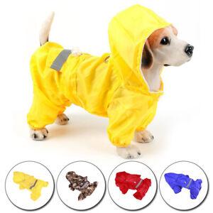 Pet Dog Waterproof Hooded Raincoat Cat Rain Coat Jacket Puppy Clothes Costume UK