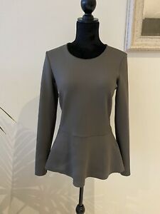 Witchery Long Sleeve Peplum Blouse Khaki Olive Green Size S