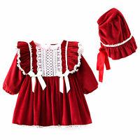 Baby Girl Tutu Dress Christmas Outfit Santa Infant Velvet Hat Xmas Party Clothes