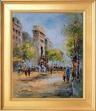 Arc De Triomphe View Paris Scene, Wooden Framed Original Painting, Oil On Canvas