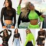Womens Sheer See Through Long Sleeve Mesh Ladies TShirt Blouse Vest Tee Crop Top