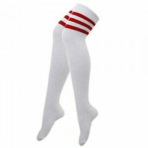 Mens Ladies White And Red Stripe Referee 118-118 Over The Knee Fancy Dress Socks