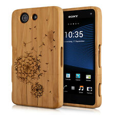 WOOD COVER FOR SONY XPERIA Z3 COMPACT LIGHT BROWN BAMBOO DANDELION CASE BACK