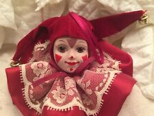 "Harlequin Jester Christmas Ornament Ceramic Fabric Bells 2""x4"" Vintage"
