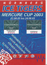 Mercure Cup 2003: Nürnberg Ice Tigers, Adler Mannheim, Kölner Haie, Slavia Prag