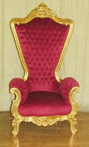 THRONE / ARMCHAIR BAROQUE STYLE PALACE THRONE GOLD / RED # AS27