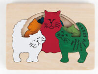 E6511 HAPE George Luck Cats Jigsaw 7 Pieces Wooden Puzzle Children Age 3 Years+