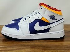 Nike Air Jordan 1 Mid GS White Laser Orange Royal Blue (554725-131) Size 6.5Y
