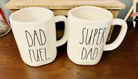 Rae Dunn Large Long Letter LL DAD FUEL & SUPER DAD Ceramic Coffee Tea Mug Cup