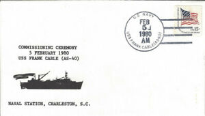 USS Frank Cable AS 40 Commissioning ships postmark 1980