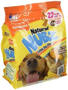 2x PACKAGES Nylabone Natural NUBZ Edible Dog Treats 2.6lb Real Chicken 22 Large