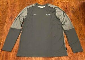 NEW Nike TCU Football On Field Apparel Gray Long Sleeve Dri-Fit Shirt Size Large