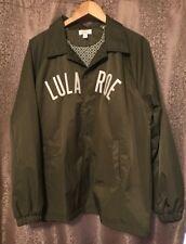 LuLaRoe UNICORN 🦄 Olive Green Windbreaker Logo Jacket Button Down Size Large