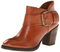 Steve Madden Fairlow Ankle Boots Brown Leather Heeled Buckle Booties Size 9M