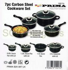 Utensilios de cocina de acero al carbono negro 7PC ollas y Pan Inducción Set Freír Tapa De Vidrio