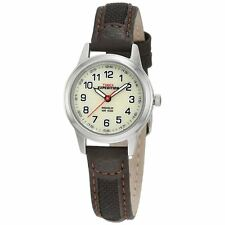 TIMEX EXPEDITION CREAM DIAL BROWN LEATHER FABRIC STRAP WATCH (MODEL NO. T41181)