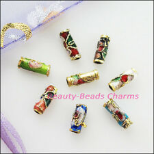 16Pcs Vintage Mixed Enamel Cloisonne Tube Spacer Beads Charms 3.5x9mm
