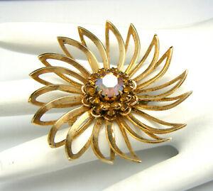 Vintage Sarah Coventry Brooch Gold Tone Open Work Petal Flower Rhinestone Center