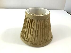 """Small Clip On Lamp Shade Gold Pleated Fabric 4""""x5""""x2-3/4"""""""