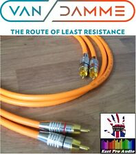 1m Pair - Van Damme RCA Phono Cables - Pro Grade Silver Plated Pure OFC Orange