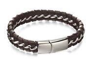Fred Bennett Bracelet Stainless Steel Brown Leather & Steel Woven Bracelet B5058