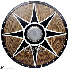 Solid Oak Viking Black Sun Shield --- Norse/armor/wood/Icelandic/Norway