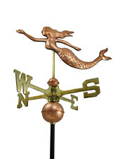 Zeckos Polished Copper Decorative Swimming Mermaid Weather Vane