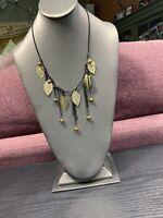 """Vtg Bib Statement Necklace Gold Time Leaf Cluster Dangle Crystal Is Charm 18+"""""""
