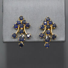 Stunning Sapphire Kundan Cluster Earrings in 21k Yellow Gold