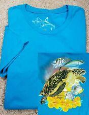 New! GUY HARVEY-Marine Blue Comb.Cttn, Womens REEF Print Summer Tee Shirt-(M)
