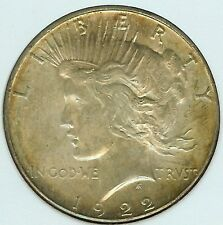 1922-S PEACE DOLLAR  NICE UNCIRCULATED RAINBOW TONING SKU#3215