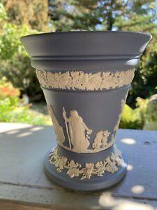 "Vintage Beautiful Blue And White Wedgwood Jasperware Vase 5"" Trumpet Vase"