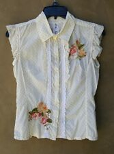 JOHNNY WAS Women's Sz S Yellow Polka Dot Embroidered Unicorn Flowers Top