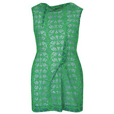 ROLAND MOURET $2100 green embroidered tulle lace Zonda mini dress 44-IT/8-US NEW