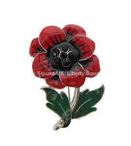 Red and Black Enamel Poppy Brooch / Enamel Poppy Broach / Poppy Flower Pin #345