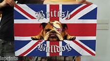 British Bulldog Banner -  UK Union Jack Fabric Flag & 4 Brass Eyelets - Bull Dog