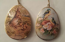 2 x Vintage Style 15cm Easter Egg Decorations Bunny Rabbit Bird Metal Retro Eggs