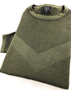 Calvin Klein CKJ Crew Neck Jumper Men's Olive Green Textured Pullover Sweater