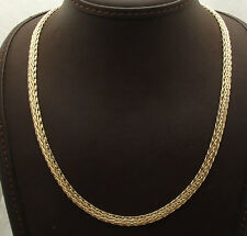"18"" All Shiny Domed Wheat Spiga Chain Necklace Real 18K Yellow Gold QVC 10.1gr"