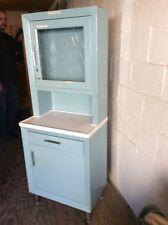 """Vintage United Metal Fab Co Blue Medical 65"""" Cabinet - 1 Drawer / 2 Doors - Good"""