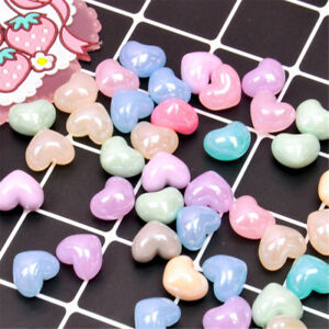 Lot of 10 3D Heart Shaped Plastic Cabochons Multi-colors DIY Jewelry Slime Charm