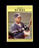 Ellis Burks Hand Signed 1991 Fleer Boston Red Sox Autograph