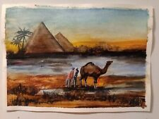 More details for original watercolour wall art egyptian landscape painting