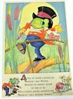 Ruth E Newton Vintage Print Frog A Wooing  Poem Puppies Mice 8.5X12.25 Nursery