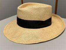 Vintage STETSON Genuine Panama Handwoven Straw Hat w/ Black Band Size 7 1/4