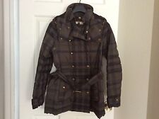 New Burberry Brit Women Quilted Hooded Down Jacket Size M. Retail $1,195
